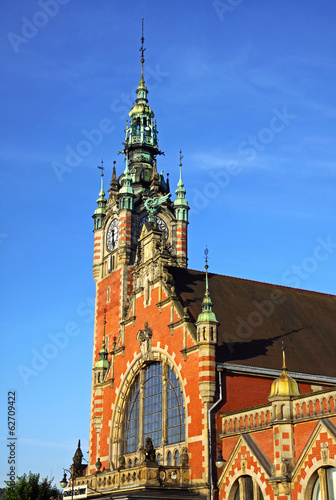 Facade of historic building of Railway station in Gdansk, Poland