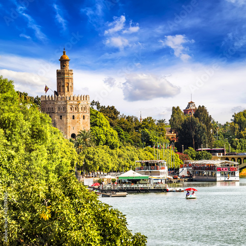 Golden tower (Torre del Oro) in Seville, Andalusia, Spain.