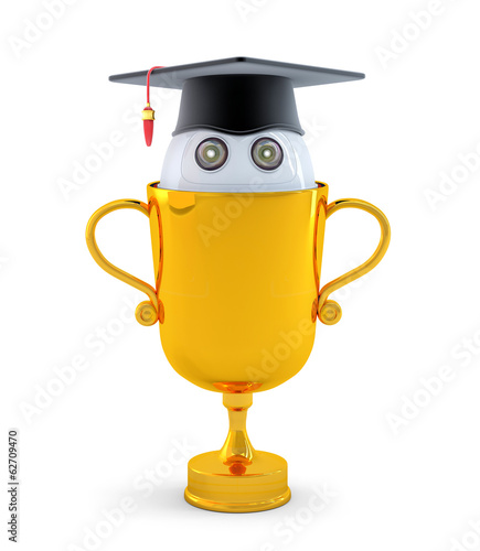 Robot with gold trophy