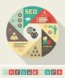 Flat Social Media Infographics plus Icon Set. Vector.