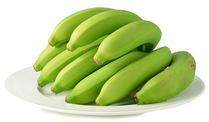 green bananas isolated on white background with clipping path