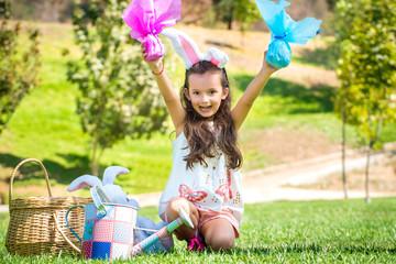 Happy little girl on easter