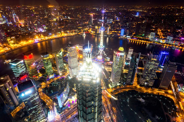Aerial city night view of shanghai