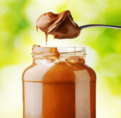 A jar of hazelnut chocolate spread.