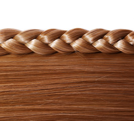 Brown Straight Hair and Braid or Plait isolated on white
