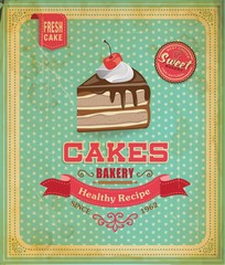 Cake poster design in retro style