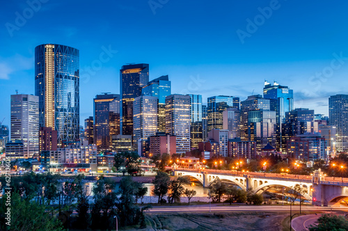 Foto op Canvas Canada Calgary skyline at night