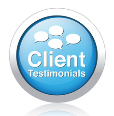 Client testimonials glossy blue reflected  button