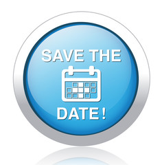 Save the date glossy blue reflected  button