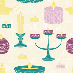 Candles seamless pattern
