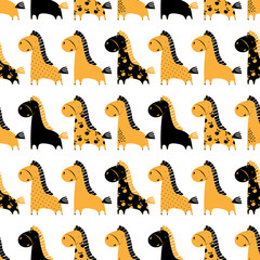 Cute funny seamless pattern with horses. Vector background with