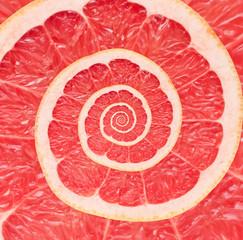 Grapefruit infinity spiral abstract background. Fibonacci.