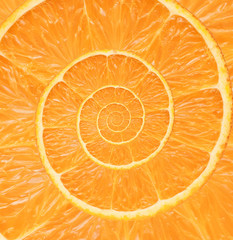 Orange infinity spiral abstract background. Fibonacci