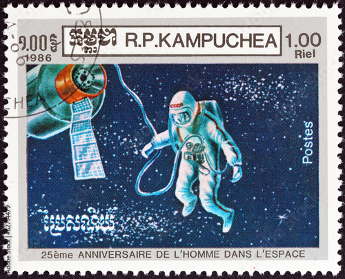 Cosmonaut Alexey Leonov on space walk (Kampuchea 1986)