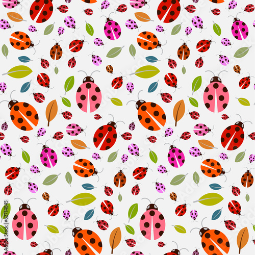 Seamless Pattern with Ladybirds and Leaves