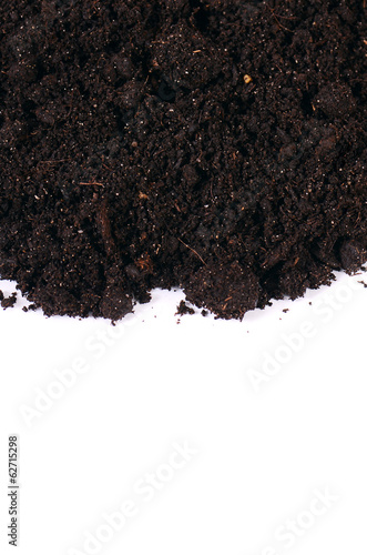 Black ground close up  isolated on white