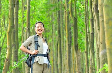 woman hiker hiking in jungle