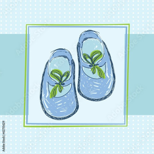 Cute blue baby shoes. Hand draw illustration.