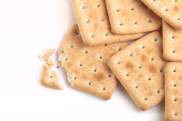 broken biscuits on a white background