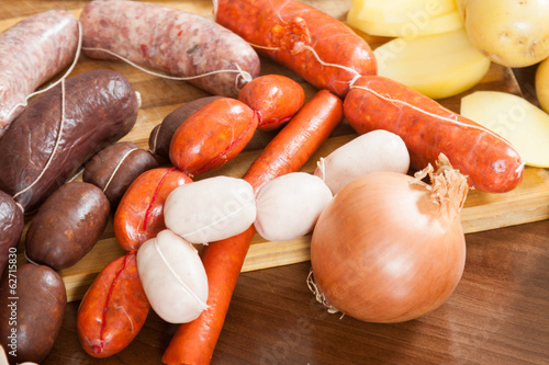 Sausage products on  cutting board