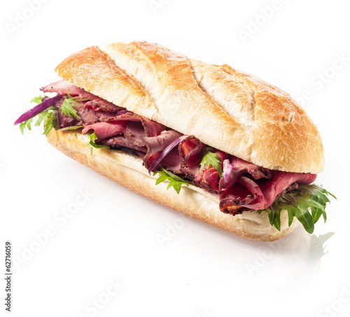 Healthy lean roast beef on a crusty roll