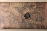 Fototapeta compass on old map