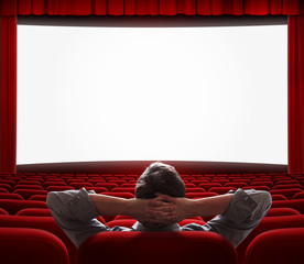 one man alone in empty cinema hall