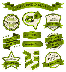 Vintage Badges, Labels and Banners - Green Series