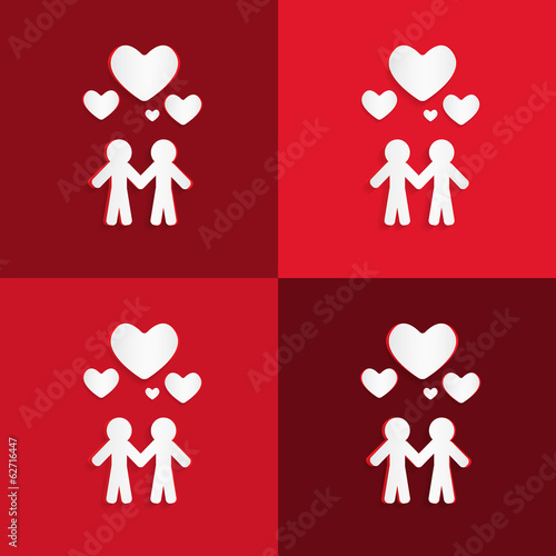 Paper People Holding Hands with Hearts on Red Background