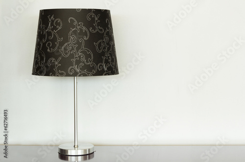 Lamp on a desk with white background