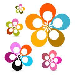 Abstract Vector Retro Flowers Set Isolated on White Background