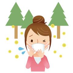 マスクをする女性 花粉症