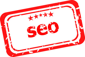 SEO, search engine optimization red stamp isolated on white