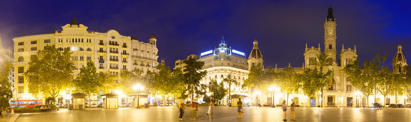 Panorama of  Placa del Ajuntament in night. Valencia