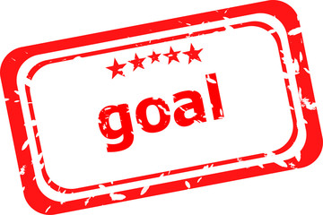 goal red Rubber Stamp over a white background