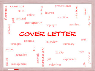 Cover Letter Word Cloud Concept on a Whiteboard
