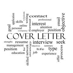 Cover Letter Word Cloud Concept in black and white