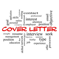 Cover Letter Word Cloud Concept in red caps