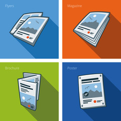 Printouts icon set of flyer, magazine, brochure and poster
