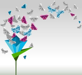 Origami  abstract background. Paper butterflies and flower.