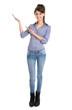 Junge Frau isoliert präsentiert mit der Hand