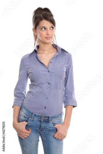 Schöne junge Frau isoliert auf weißem Hintergrund