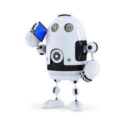 Robot with mobile phone