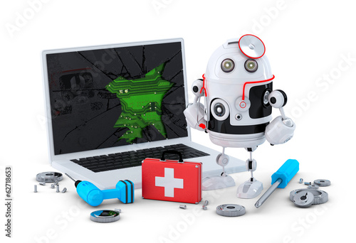 Medic Robot. Laptop repair concept.