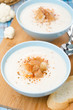 cold cauliflower soup with cottage cheese and croutons, vertical