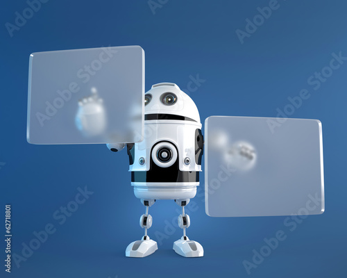 Robot pushing a button on digital vurtual screen