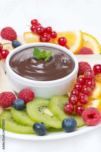 chocolate sauce, fresh fruit and berries