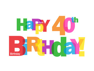 """HAPPY 40TH BIRTHDAY"" CARD (forty party celebration congrats)"