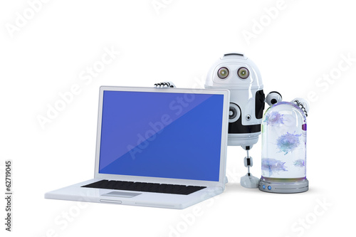 Robot with laptop. Computer security concept