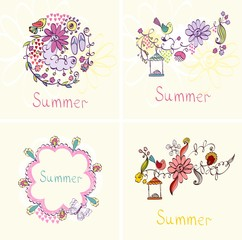 summer. Cute seasonal floral background with flowers.